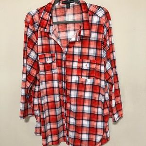 French Laundry Red/Blue Plaid Button Down Sz 3x